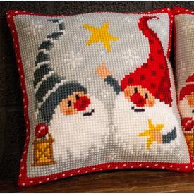 Christmas Gnomes 4 - Vervaco Kruissteekkussen |  | Artikelnummer: vvc-172634