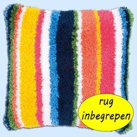 Bright Stripes - knoopkussen MET RUG - Vervaco  | Smyrna kussen met bonte strepen | Artikelnummer: vvc-175290