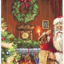 Santa Clause with List - borduurpakket met telpatroon Luca-S |  | Artikelnummer: luca-b578