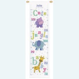 Growing Chart: Baby Animals - borduurpakket met telpatroon Vervaco | Groeimeter met dieren | Artikelnummer: vvc-149293