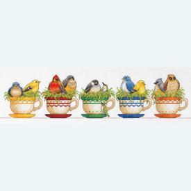 Teacup Birds - borduurpakket met telpatroon Dimensions |  | Artikelnummer: dim-70-35394