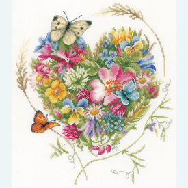 A Heart of Flowers by Marjolein Bastin - borduurpakket met telpatroon Lanarte |  | Artikelnummer: ln-169960