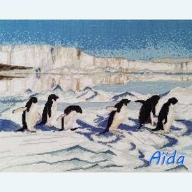 Penguin Paradise - borduurpakket met telpatroon Nafra | stof = Aïda | Artikelnummer: nf-nafra21081a