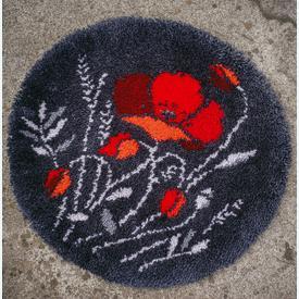 Poppies - knooptapijt Vervaco   Smyrna tapijt met rode roos   Artikelnummer: vvc-186618