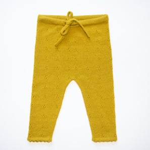 Baby Leggings with Ajour Pattern | 100% Cashmere, Colour: Citronelle | Code: 0718BP050112XXX