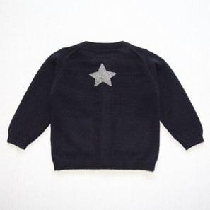 Cardigan with Star  | 100% Cashmere, Colour: Dark Navy | Code: 0714BC010156XXX