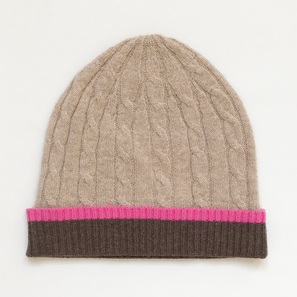 Hat with Cable Pattern, 2 Years | 100% Cashmere, Colour: Beige Mélange | Code: PLM-10006