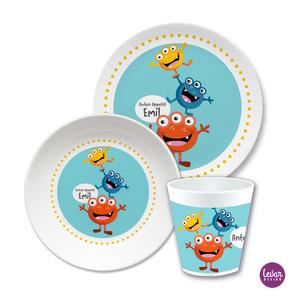 Kindergeschirr Set Monster  |  | Artikelnummer: ki3setmonster