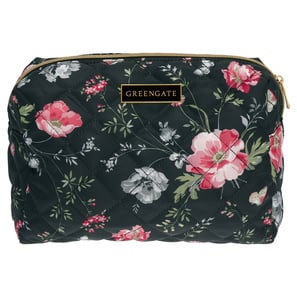 Greengate Meadow black | Nylon Wash bag Meadow black large, Kulturtasche, Kosmetiktasche groß, 25 x 17 x 10 cm | Artikelnummer: NYLWASLMEA9904