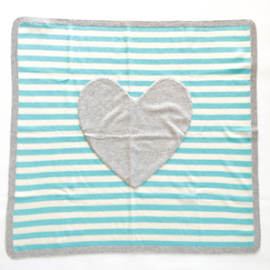 Striped Blanket with Heart, 80x80 cm | 100% Cashmere, Colour: Turquois/Grey Mélange | Code: PLM-10011
