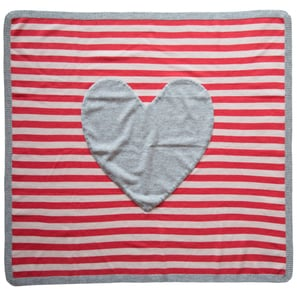Striped Cashmere Blanket with Heart | 100% Cashmere, Colour: Fuchsia | Code: 0115IB010194