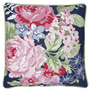 Greengate Rose dark blue | Cushion Rose dark blue piece printed, Kissenbezug, Kissenhülle mit bedrucktem Motiv, Baumwolle 50x50cm | Artikelnummer: COTCUS50PROS2202