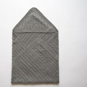 Baby Blanket SHILOH with Hood | 100% Cashmere, Colour: Dark Grey Mélange | Code: IB06018184