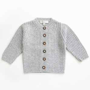 Cardigan NOVA with Half Fisherman's Rib | 100% Cashmere, Colour: Light Grey Mélange | Code: BC12018181XXX