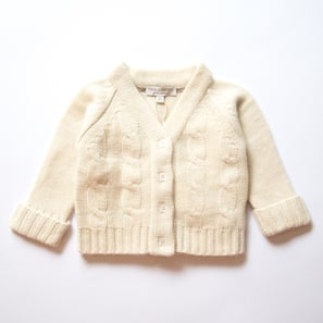Cable Cardigan | 100% Cashmere, Colour: Natural White | Code: 0715BC020101XXX
