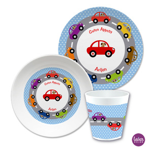 Kindergeschirr Set Autos Dots  |  | Artikelnummer: ki3ersetautos
