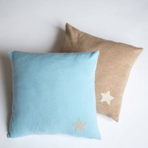 Cashmere Cushion with Star | 100% Cashmere, Colour: Light Blue | Code: 0716IC010154X