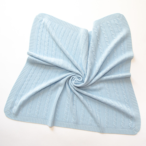 "Cashmere Blanket ""Shiloh X"" with cable pattern  