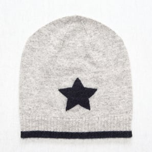 Hat with Star | 100% Cashmere, Colour: Light Grey Mélange (star: Dark Navy | Code: 0716AH010181XXX