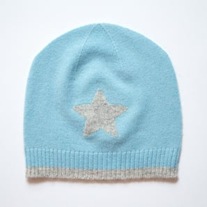 Hat with Star, a) 0-12 months | 100% Cashmere, Colour: Light Blue | Code: 0715AH010154062