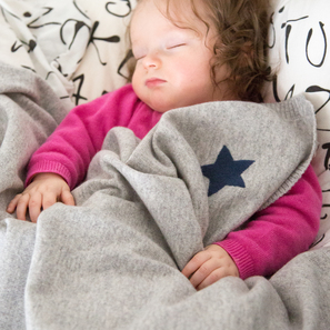 Cashmere Baby Blanket with Star | 100% Cashmere, Colour: Light Grey Mélange | Code: 0715IB010181S