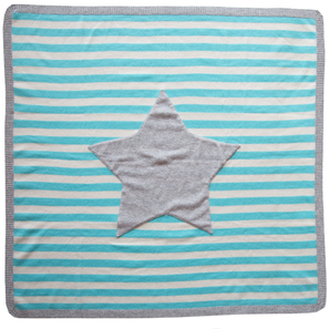 Striped Cashmere Blanket with Star | 100% Cashmere, Colour: Turquoise | Code: 0115IB010195
