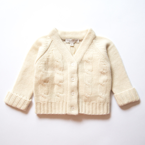 Cable Cardigan, a) 3 months/62 cm | 100% Cashmere, Colour: Natural White | Code: 0715BC020101062