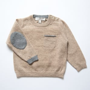 Jumper with Elbowpatches | 100% Cashmere, Colour: Beige Mélange | Code: 0715BJ030102XXX