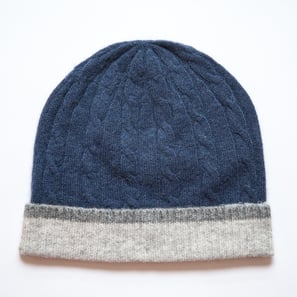Hat with Braid Pattern | 100% Cashmere, Colour: Navy | Code: 0715AH020151XXX