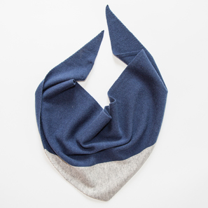 Triangle Scarf with Colour Block | 100% Cashmere, Colour: Navy with Light Grey Mélange  | Code: 0117AS120151XXX