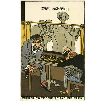 Wiener Werkstätte postcard 531 | The Chess players | Artikelnummer: PODE-WWPK-974-4-A4