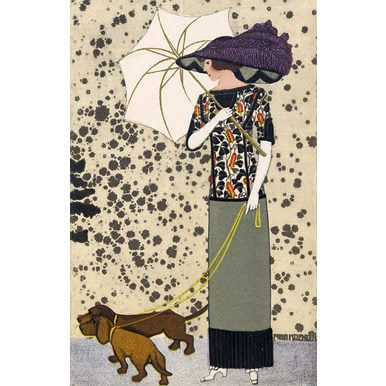 Fashion postcard with dogs | Wiener Werkstätte Postcard No. 519 | Artikelnummer: PODE-KI-8875-2-A4S