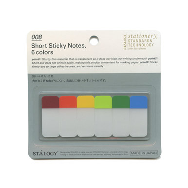 Transparente Haftnotizen aus Japan / Translucent Sticky Notes   | Breit 6 Farben / Short 6 Colours | Artikelnummer: stalogy_stickynotes_008