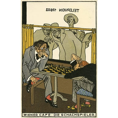 Wiener Werkstätte postcard 531 | The Chess players | Artikelnummer: PODE-WWPK-974-4-A3S