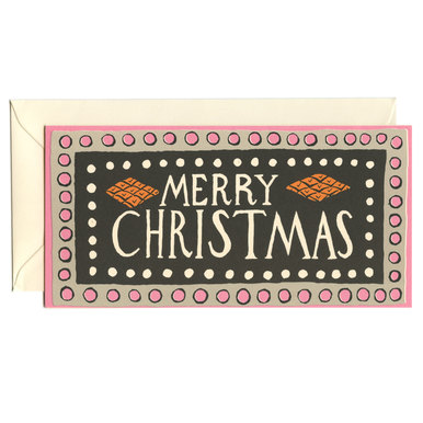 Lange Weihnachtskarte Rosa / Long Christmas Card Pink | Cambridge Imprint | Artikelnummer: cambridge_dl_rosa-schwarz