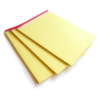 Großes Yellow Pad mit Klebebindung / Large legal pad | 6 Sets à 3 Blöcke / 6 packs of 3 | Artikelnummer: 59386_6