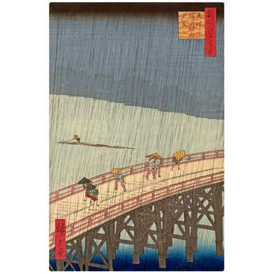 Rain shower above the Great bridge at Atake | Woodcut 100 famous views of Edo | Artikelnummer: PODE-HM-11174-A2S