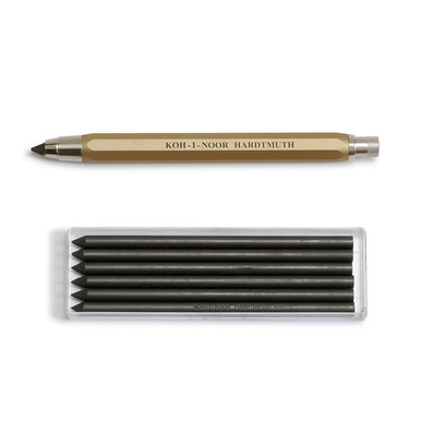 Koh-I-Noor 5,6mm Fallbleistift + Minen / 5,6mm Clutch Leadholder pencil + Lead | Set enthält 6 x 5,6mm Mine / Set includes 6 x 5,6mm lead | Artikelnummer: Koh_set_gold