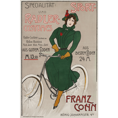 Specialität: Sport- und Radler Costumes | Advertising Poster around 1910 | Artikelnummer: POD-PI-3385-A2