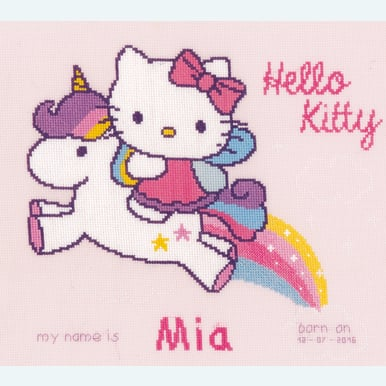 Hello Kitty and Unicorn - kruissteekpakket met telpatroon Vervaco |  | Artikelnummer: vvc-156716