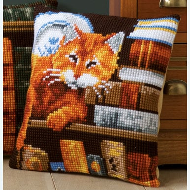 Cat and Books - Vervaco Kruissteekkussen |  | Artikelnummer: vvc-163873