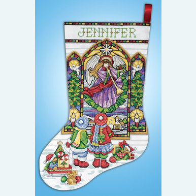 Stained Glass Window Stocking - borduurpakket met telpatroon Design Works | Kerstkous om zelf te maken | Artikelnummer: dw-5961