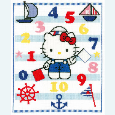 Hello Kitty - Learning Numbers - kruissteekpakket met telpatroon Vervaco  |  | Artikelnummer: vvc-149845