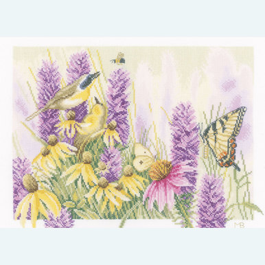 Butterfly Bush and Echinacea - borduurpakket met telpatroon Lanarte |  | Artikelnummer: ln-147541
