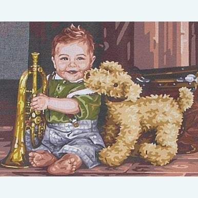 The Little Trumpet Player by Kim Anderson - Stramien om zelf te borduren in halve kruissteek |  | Artikelnummer: rp-176-082-stramien