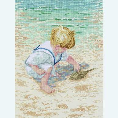 Boy with Horseshoe Crab - borduurpakket met telpatroon Janlynn |  | Artikelnummer: jl-029.0047