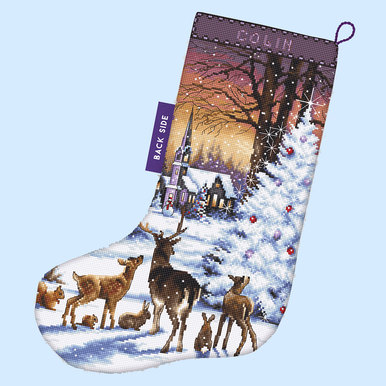 Christmas Wood Stocking - borduurpakket met telpatroon Letistitch |  | Artikelnummer: leti-948