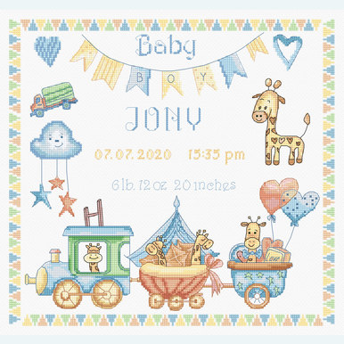 Baby Boy Record - borduurpakket met telpatroon Letistitch |  | Artikelnummer: leti-936