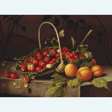 Basket with Strawberries - handwerkpakket met telpatroon Luca-S |  | Artikelnummer: luca-b487