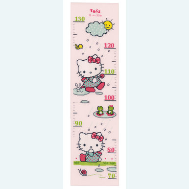 Growing Chart: Rainy Days - borduurpakket met telpatroon Vervaco  | Groeimeter met Hello Kitty | Artikelnummer: vvc-155627